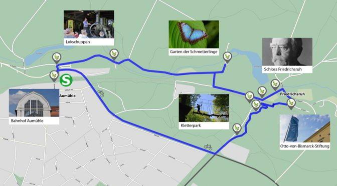 """Kartenausschnitt mit Highlights der Route """"Unterwegs nach Friedrichsruh"""""""