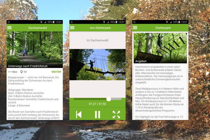 Jede Route mit Kurzbeschreibung, Audio- und Textinformation.