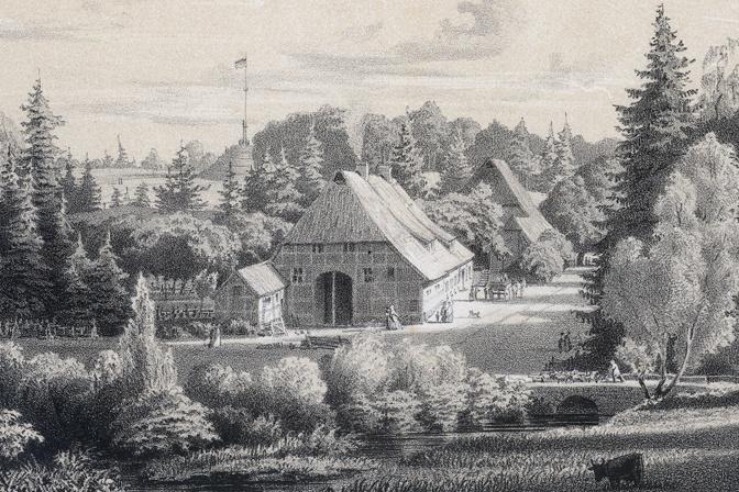 Blick zum Schneckenberg in Friedrichsruh, Druckgrafik (um 1871)