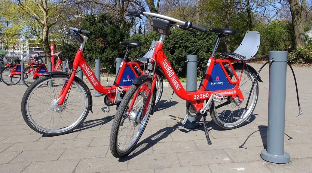 Leihräder von StadtRAD an einer Verleihstation