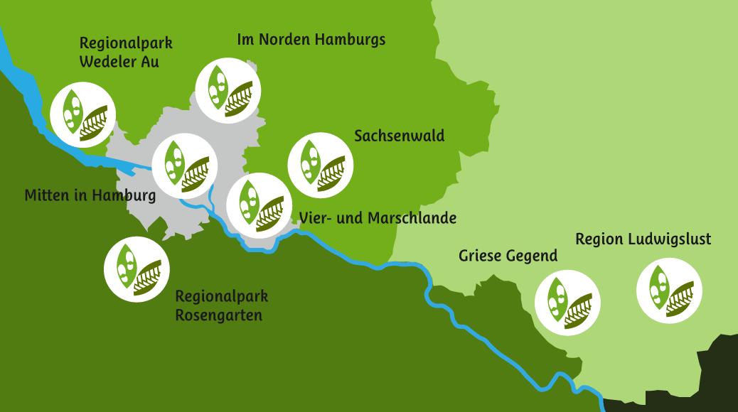 Gebiete der EntdeckerRouten in der Metropolregion Hamburg